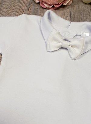 Body bébé manches courtes avec noeud papillon blanc