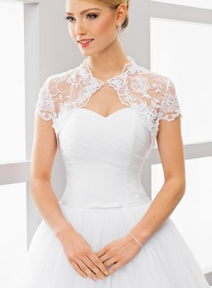 boléro mariage mariée dentelle manches très courtes blanc