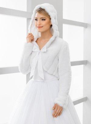 Boléro capuche mariage fourrure blanche hiver
