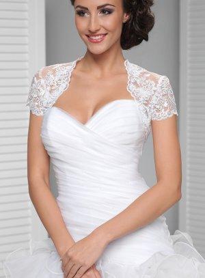 boléro de mariée en dentelle fine et perlée blanc
