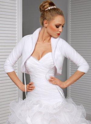 Boléro veste femme pour cérémonie mariage automne hiver en polaire blanche