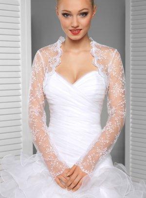 Boléro mariage femme en dentelle manches longues blanc