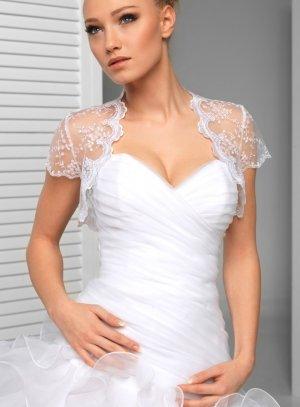 Boléro de mariée en dentelle manches courtes blanc