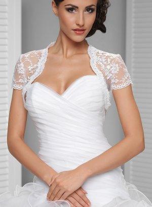 bolero de mariée dentelle manches courtes blanc avec perles