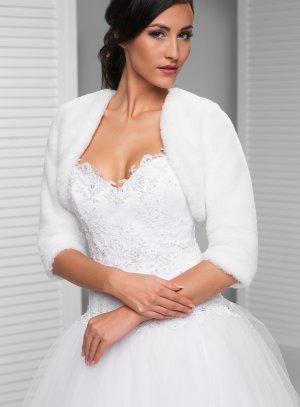 boléro mariage fourrure manches 3/4 blanc poils raz