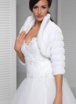 boléro manteau mariage fourrure blanche