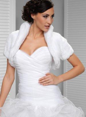 boléro mariage fourrure manches courtes blanc