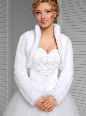 Manteau mariage femme fausse fourrure blanche