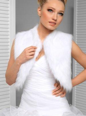 boléro faux-fur blanc femme
