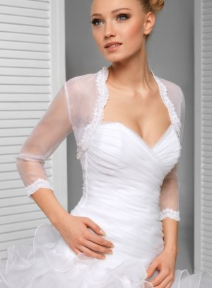 boléro mariage femme blanc en organza et dentelle