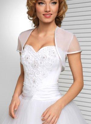 Boléro de mariée en organza manches courtes blanc