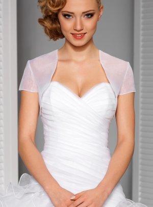 boléro organza femme blanc manches courtes