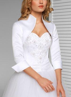 Boléro de mariée en satin manches 3/4 blanc