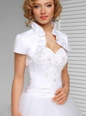 Boléro de mariée ou cérémonie pour femme manches courtes blanc