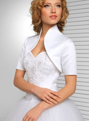 Boléro femme pour mariage en satin blanc et pas cher