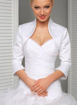 boléro satin manche 3/4 blanc mariage