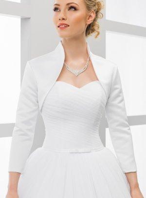 veste satin mariage blanche manche 3/4
