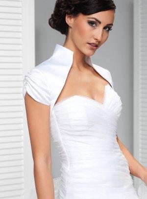 boléro mariage femme satin blanc manches courtes