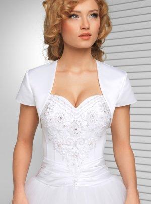 boléro mariage femme manches courte satin blanc