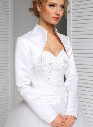 bolero satin manches longues blanc pour mariage