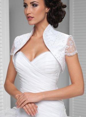 Boléro de mariée tulle brodé doublé satin et manches courtes blanc