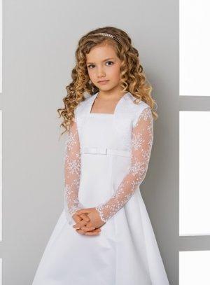Boléro cérémonie mariage enfant dentelle blanc manches longues