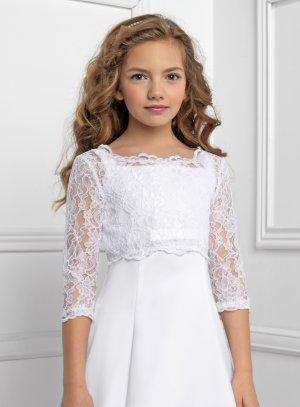 bolero fille dentelle lacets dans le dos blanc pour mariage ou cérémonie