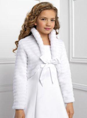 Boléro fille pour hiver blanc