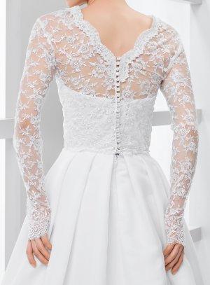 Boléro blanc mariée brodé dos boutonné manches longues