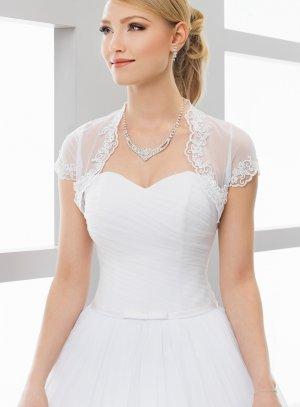 Boléro mariée court mousseline dentelle manches courtes blanc