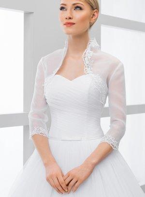 boléro mariée mariage cérémonie organza blanc manches 3-4