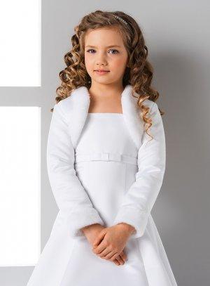 boléro mariage enfant satin blanc fourrure