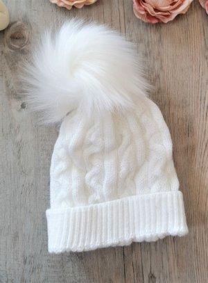 Bonnet pompom blanc bébé enfant