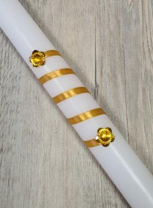 Bougie avec ruban et strass or doré