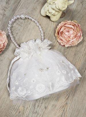 sac bourse blanche brodée avec perle