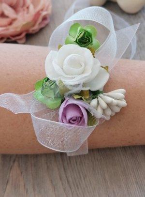 bracelet demoiselle d'honneur enfant ou femme blanc et mauve