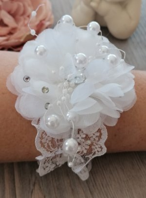 bracelet demoiselle d'honneur blanc fleur strass perle