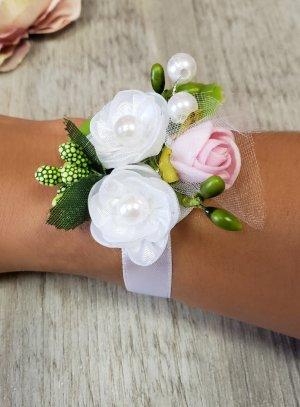 bracelet demoiselle d'honneur ruban fleur élégante
