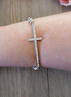 bracelet croix strass argent