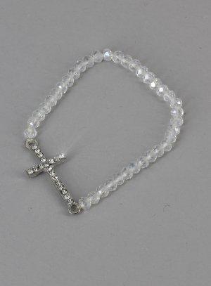 bracelet croix strass blanc