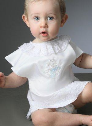 brassière bapteme vêtement blanc avec ange bleu