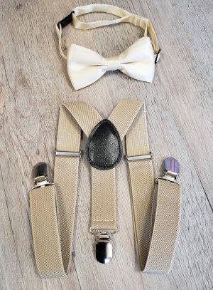 Bretelles + noeud papillon beige pour bébé petit garçon