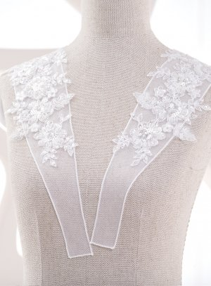Bretelles pour robe de mariée application perlée blanche