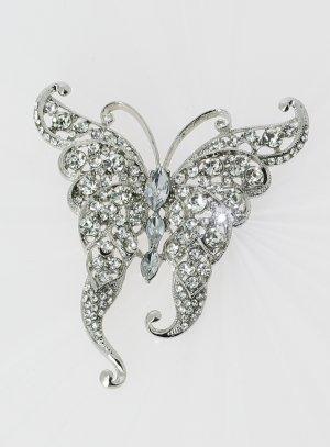 broche papillon fantaisie argenté