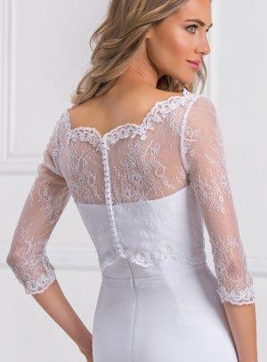Bustier dentelle blanche transparente pour cérémonie mariage