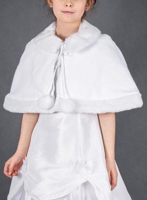 cape fille blanche cérémonie mariage baptême fourrure et coton