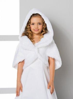 Cape fourrure enfant avec capuche blanche