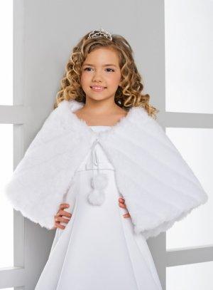 cape en fourrure pour ceremonie enfant blanche