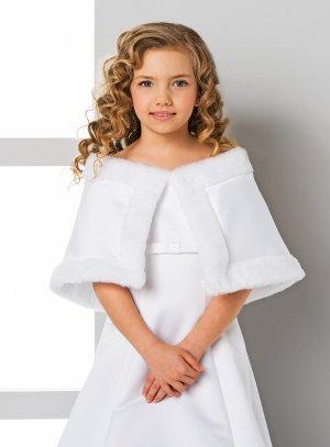 Cape enfant fille style princesse satin blanc et fourrure