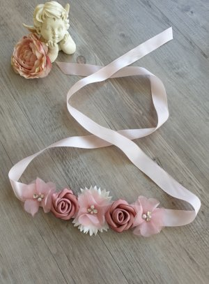 Ceinture cortège petite fille rose avec fleur